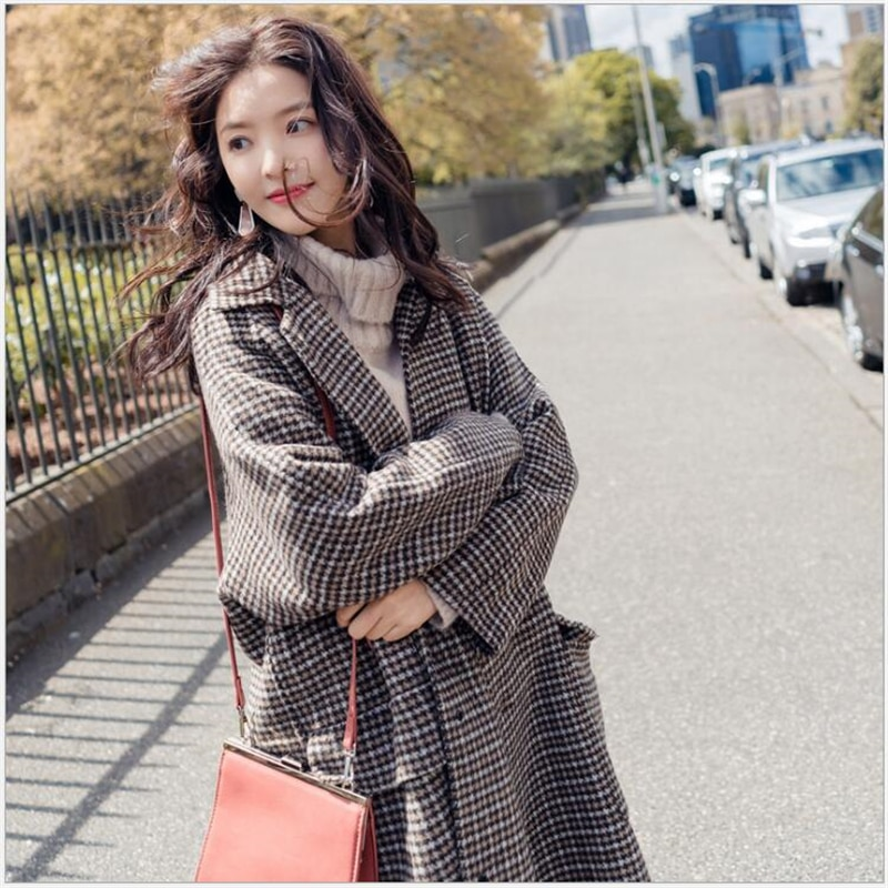 2019 Otoño e Invierno nuevos productos de moda retro solapa largo a cuadros abrigo de lana gruesa mujer Casaco Feminino S186