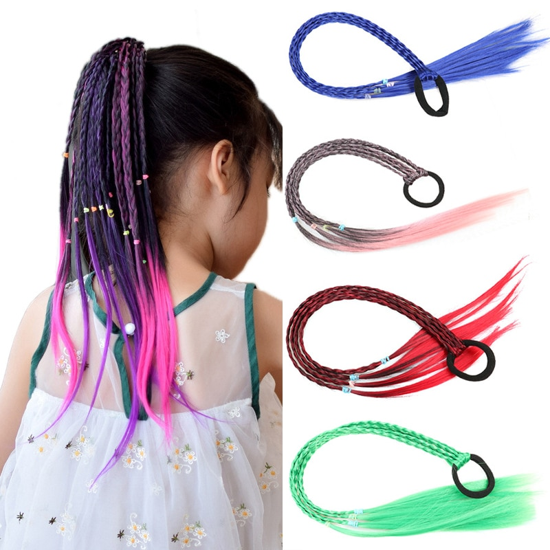 12 pcs set fashion kids elastic hair bands rubber headbands soft fabric cartoon girls headwear children hair accessories Girls Colorful Wigs Ponytail Hair Ornament Headbands Rubber Bands Beauty Hair Bands Headwear Braid Kids Gift Hair Accessories