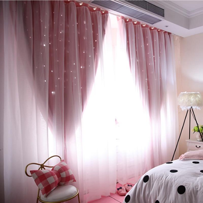 Cortina de ventana ahuecada con sombreado de estrellas Purdah para sala de estar, cortina de habitación de princesa para niños, cortina de habitación para chico de bebé