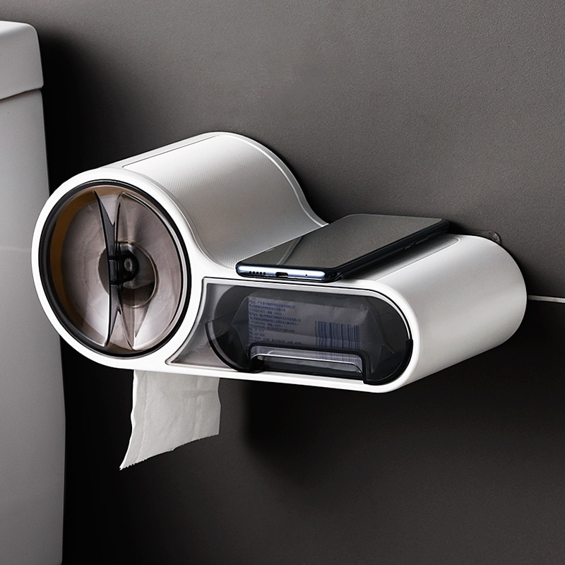 متعددة الوظائف حامل ورق المرحاض رف مقاوم للماء الحائط ورق تواليت صندوق لفة صندوق تخزين ورقي اكسسوارات الحمام