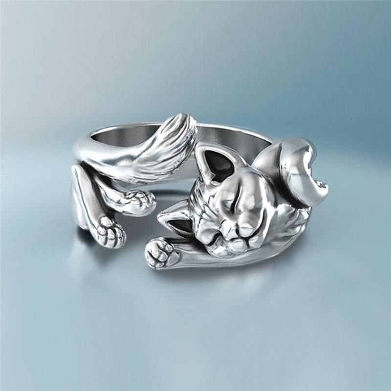Fashion cute woman metal open cat ring casual party geometric titanium steel silver black lazy