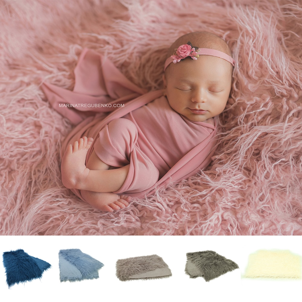 150x100cm Mongolia Long Pile Faux Fur Blanket Baby Photo Backdrop Basket Filler For Newborn Infant Photography Accessories