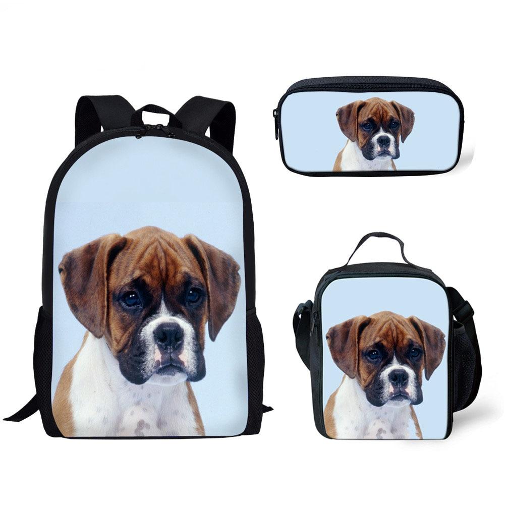 pug dog husky printing backpack for children girls 3pcs/set School Bags for Kids Primary School Bag Children Boxer Dog 3D Printing School Backpack Girls Puppy Schoolbag