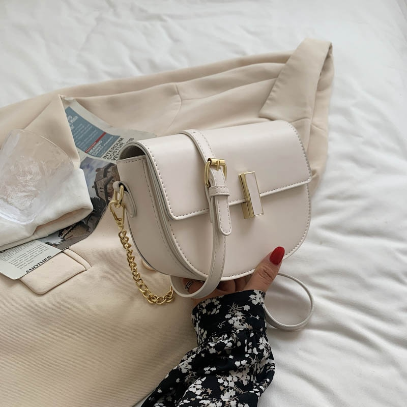 Women Leather Chain Shoulder Crossbody Bags for Women 2021 New Fashion Small Square Bag Casual Mobil