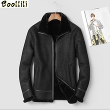 Boollili 2020 veste en cuir véritable hommes hiver manteau en peau de mouton 100% doublure en laine Vintage hommes vestes en cuir
