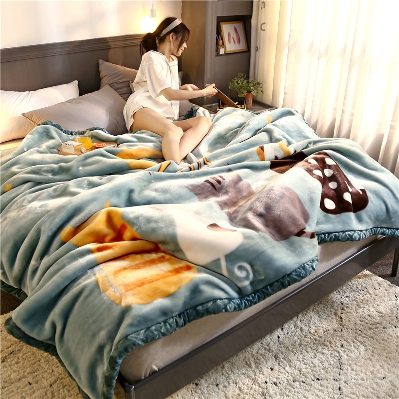 Blanket double home warm double-layer coral fluff blanket blanket thickened single for both men and women Bedding and travel