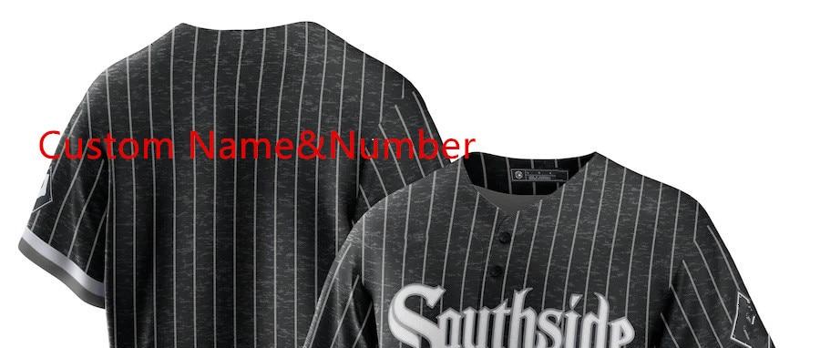 Custom t shirt Cool base jersey model Black 2021 City Connect southside Replica Custom baseball Stiched Jerseys