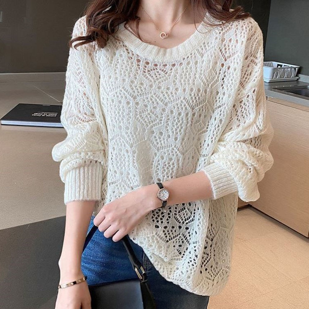Sweater Women Knitted Sweater Women 2021 Autumn Solid Korean Hollow Round Neck Long Sleeve Pullover Female Jumper Knitwear sexy bandage lace up sweater women round neck long sleeve oversized loose knit pullover jumper sweater knitwear tops outwear