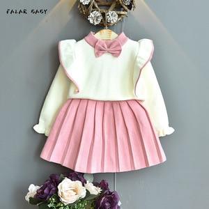 2020 2pcs Fashion Girls Clothing Set Baby Girls Clothes sets girls Cardigan+Skirt girls dresses suit 11