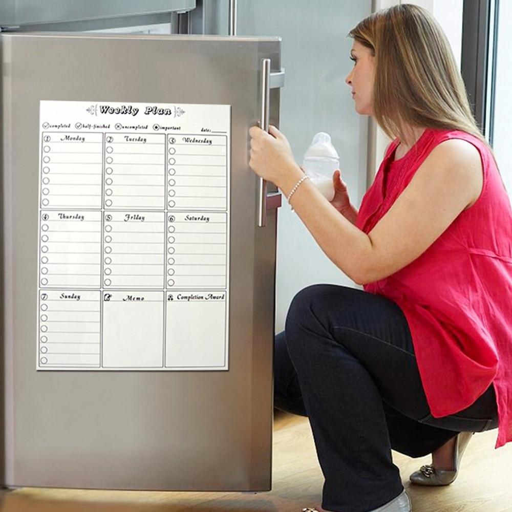 Simple Magnetic Dry Erased Refrigerator Whiteboard Kitchen Fridge Calendar Message Board Student Kids Monthly Planner Board
