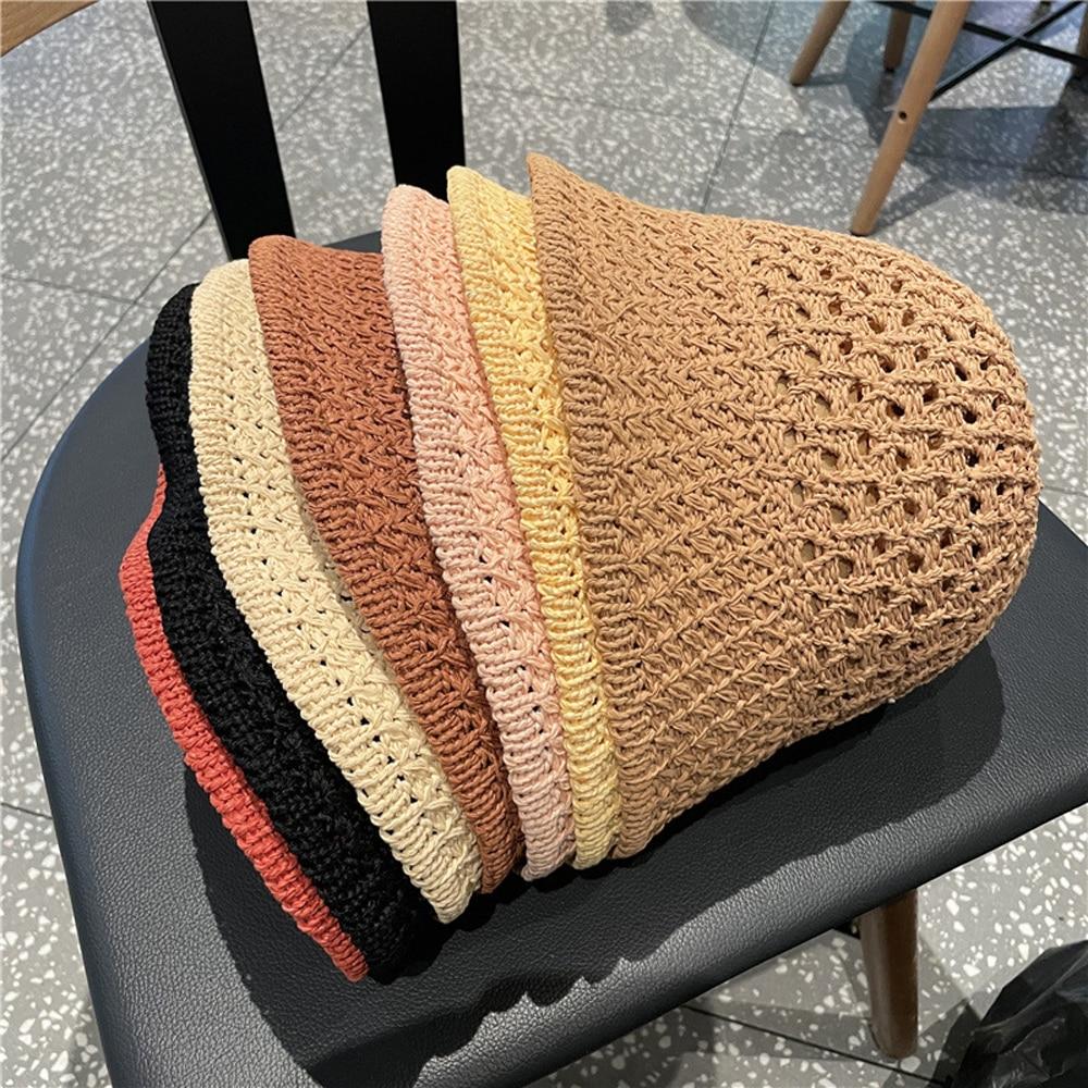 New Women Straw Hats UV Protection Sun Visor Beach Bucket Foldable Female Summer Hat