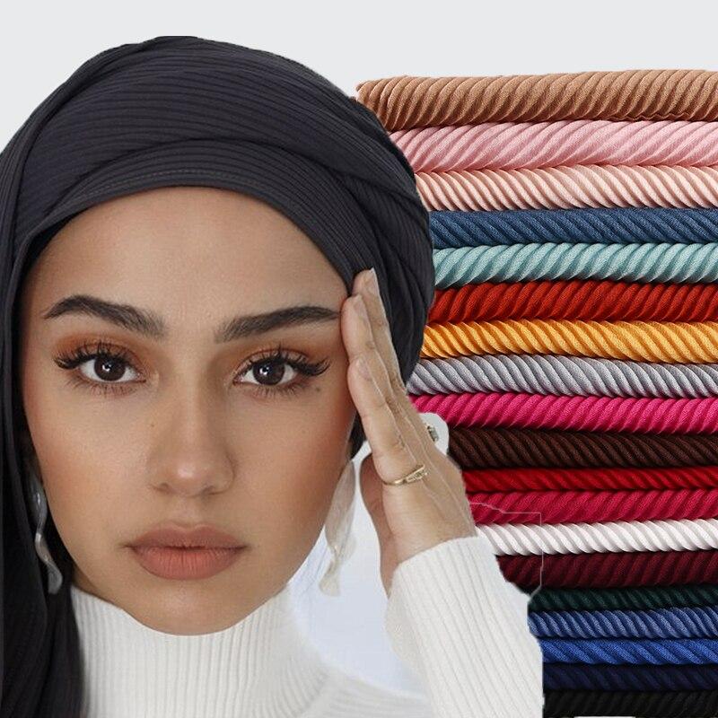 women Head hijab wrap solid full cover-up shawls foulard femme headband crinkle pleated cotton muslim hijabs 10PCS/LOT