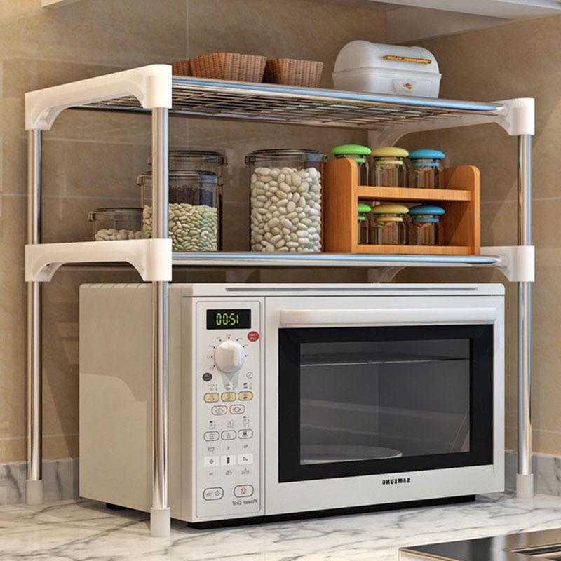 رف فرن ميكروويف من الفولاذ المقاوم للصدأ قابل للتعديل ، رف قابل للفصل ، حامل تخزين أدوات المائدة للمطبخ
