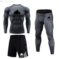 mma compression underwear summer mens sweat fitness clothing tracksuits male rash guard mma kit gym joggers 3 piece sportswear