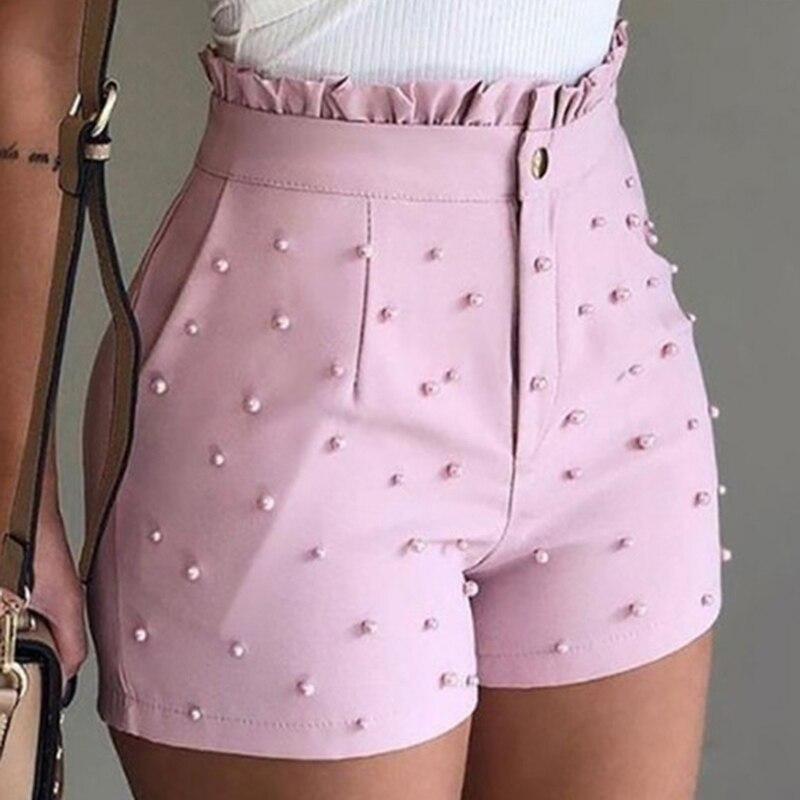 Bonito das mulheres Soild Cor Shorts Decoração Talão Cintura Alta Feminino Caual Senhoras Verão Shorts Para Mulheres