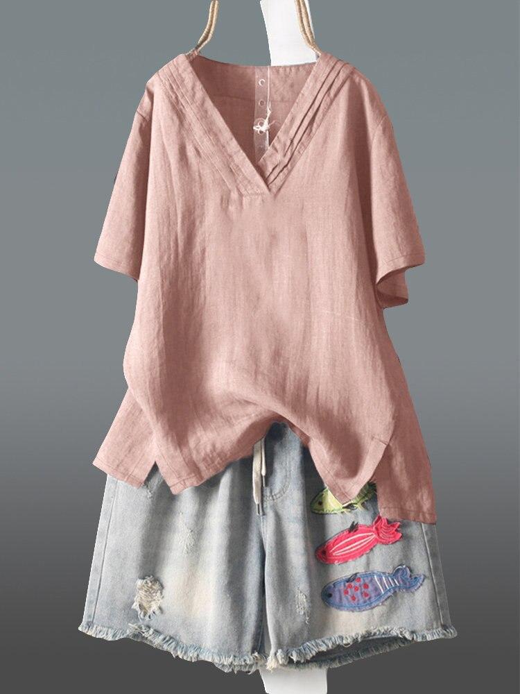 Nueva Casual básica verano de las mujeres de algodón y lino blusa Top camiseta manga corta con cuello en V de talla grande M ~ 5XL