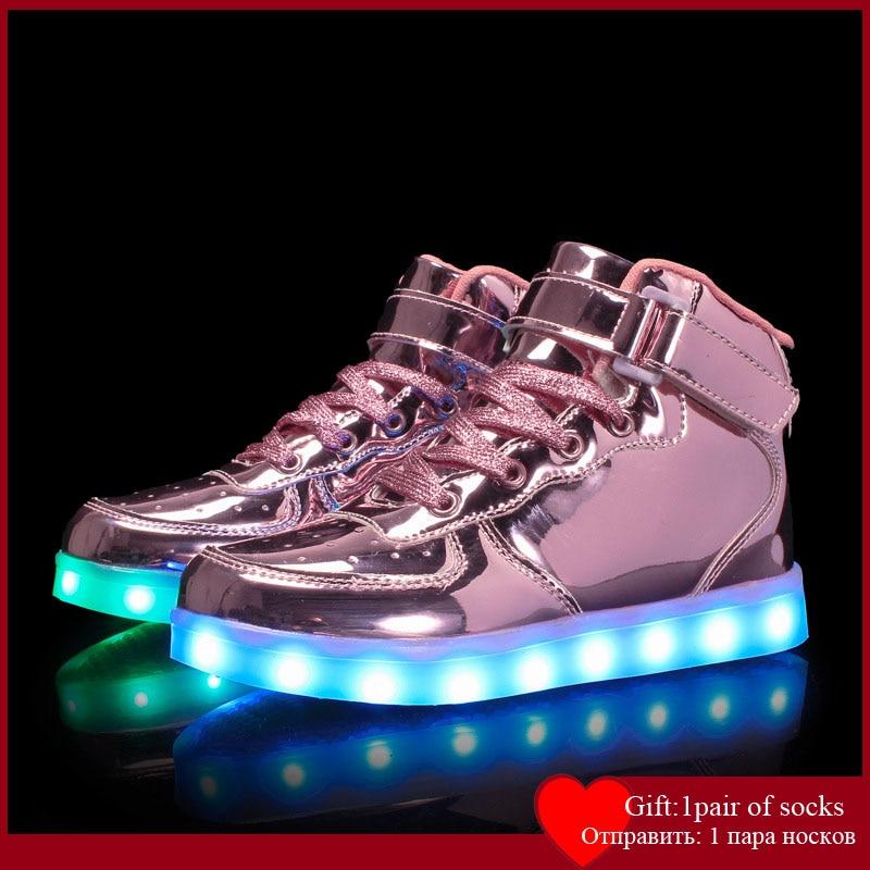 Size 25-39Kids Led USB Recharge Glowing Shoes Children's Hook Loop Shoes Children's Glowing Sneakers Kids Led Luminous Shoes