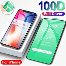 100D Curved Protective Glass On For iPhone 11 12 Pro XS Max X XR Screen Protector For iPhone 6 6S 7