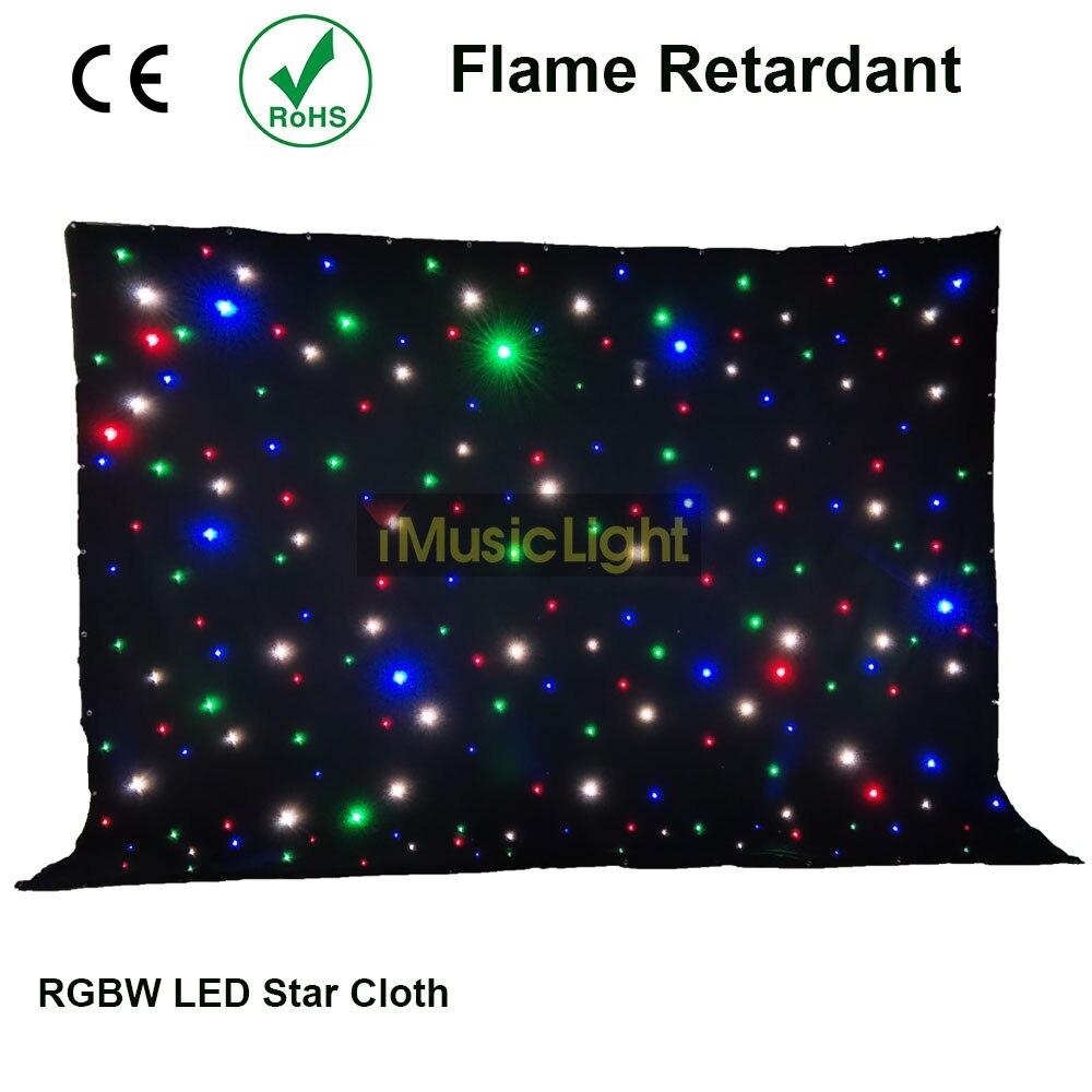 4x6Mtr Starcloth flotantes cortina RGBW LED estrella de fondo con sistema de controlador