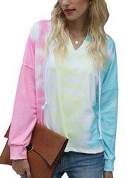 Nova moda feminina senhoras outono manga longa solto hoodies feminino tie-dye print com capuz topo
