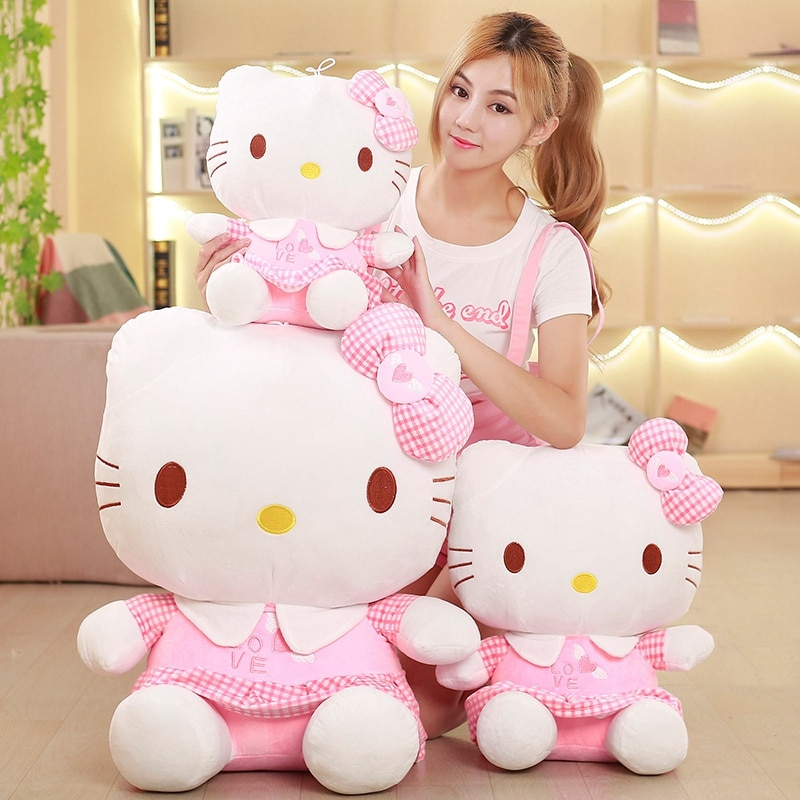 60cm Kawaii Cat Pillow Hello Plush Toy Stuffed Toy Cat Dolls Anime Figure Toys for Children Anime Doll Kid Baby Birthday Gifts pj masks greg luxury cat car connor cat kid owl girl flying wall man anime figures toys for children birthday gift 7d08