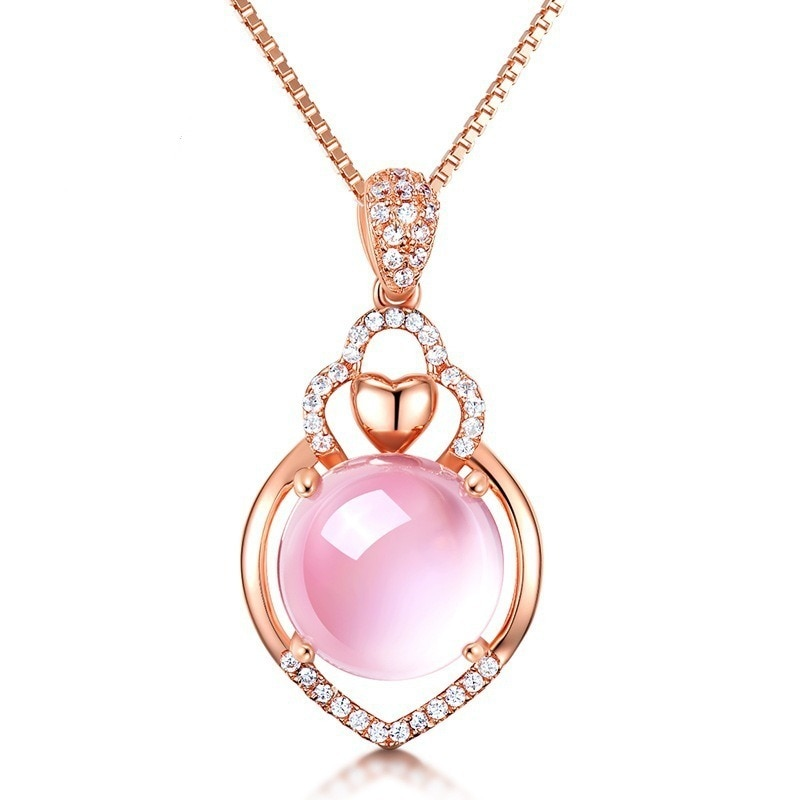 Natural Pink Chalcedony Hand Carved Drop Pendant Fashion Personality Jewelry Men and Womens 925 Silver Inlaid Necklace