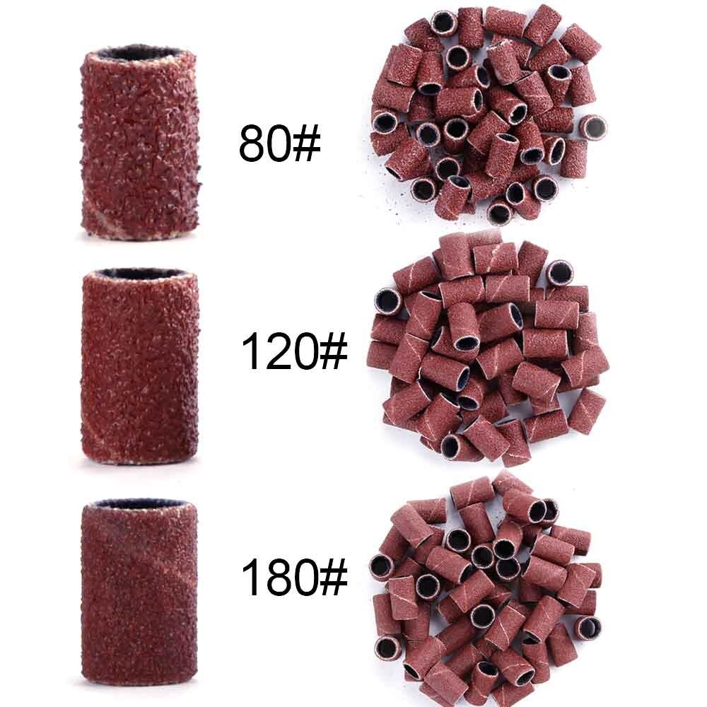80# 120# 180# Electric Nail Machine Nail Drill Bits Nail Art Sanding Bands UV Gel Acrylic Polish Remover For Nail Accessory Tool