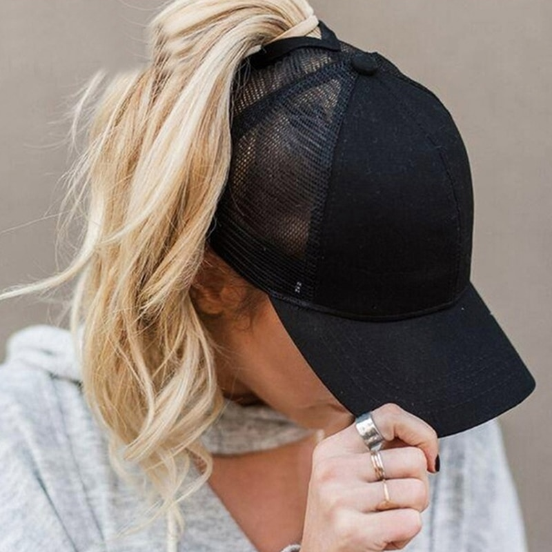 GAOKE 2021 new ponytail baseball cap summer women's adjustable black hat messy cap casual cotton gir