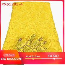 Guangzhou Großhandel Die neueste gelb kleid stickerei guipure designs für damen pailletten spitze 5 yards für frauen abendkleid