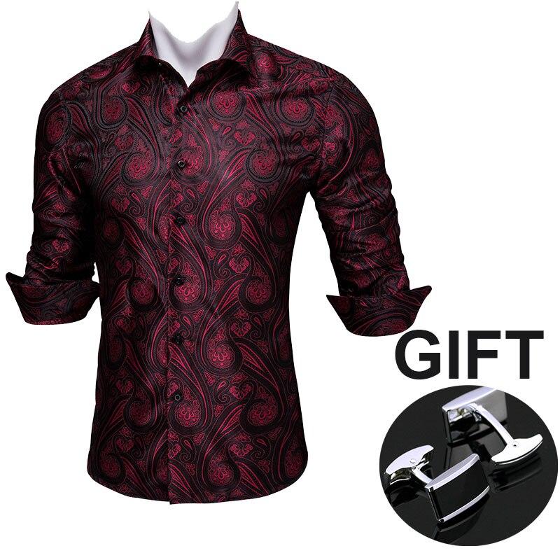 عالية الجودة الأحمر Paisly الخريف رجل الحرير قمصان طوق مربع الذكور عارضة الحرير طويلة الأكمام الحرير اللباس قمصان CC-001