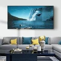 Peinture a lhuile de paysage colore foret brouillard foret toile peinture bureau salon couloir decoration murale de la maison