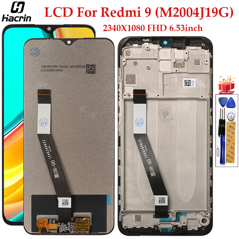Display For Xiaomi Redmi 9 LCD Display Touch Screen With Frame Digitizer Assembly Replacement Display For Redmi 9 LCD Screen недорого
