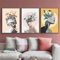 Abstrait fleur femme mur Art toile peinture moderne mode beaute affiche nordique decoratif image pour salon decor a la maison