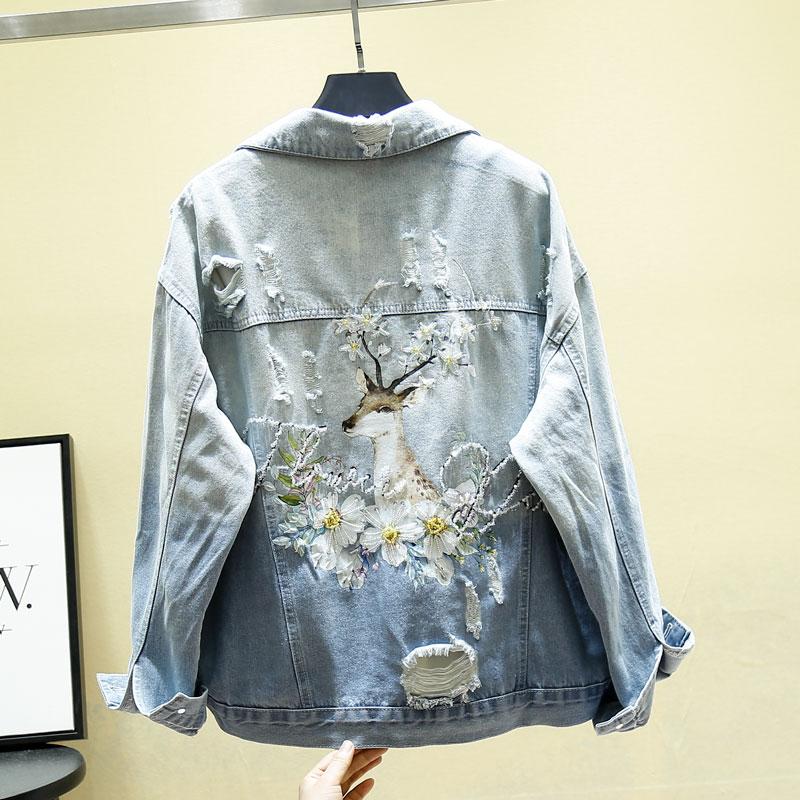 Chaquetas de mezclilla bordadas cuello en V cuello vuelto suelta con cuentas vintage agujero mujer señora chaquetas de vestir abrigo camisetas