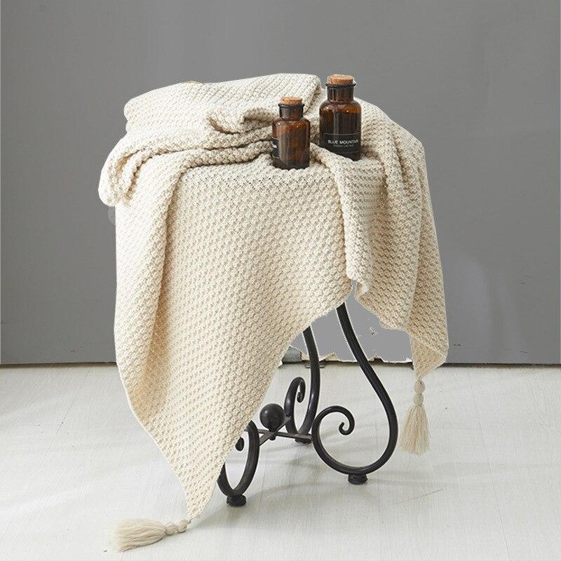 одеяло зимнее пледы и покрывала плед на диван Однотонные вязаные одеяла с кисточками, удобная хлопковая кровать, клетчатый шерстяной шар, п...