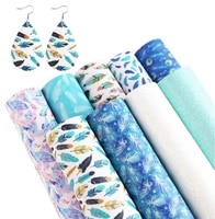 9pcsset colorful feather faux leather sheets synthetic faux earrings fabric pu material for diy jewelry making earring pendants