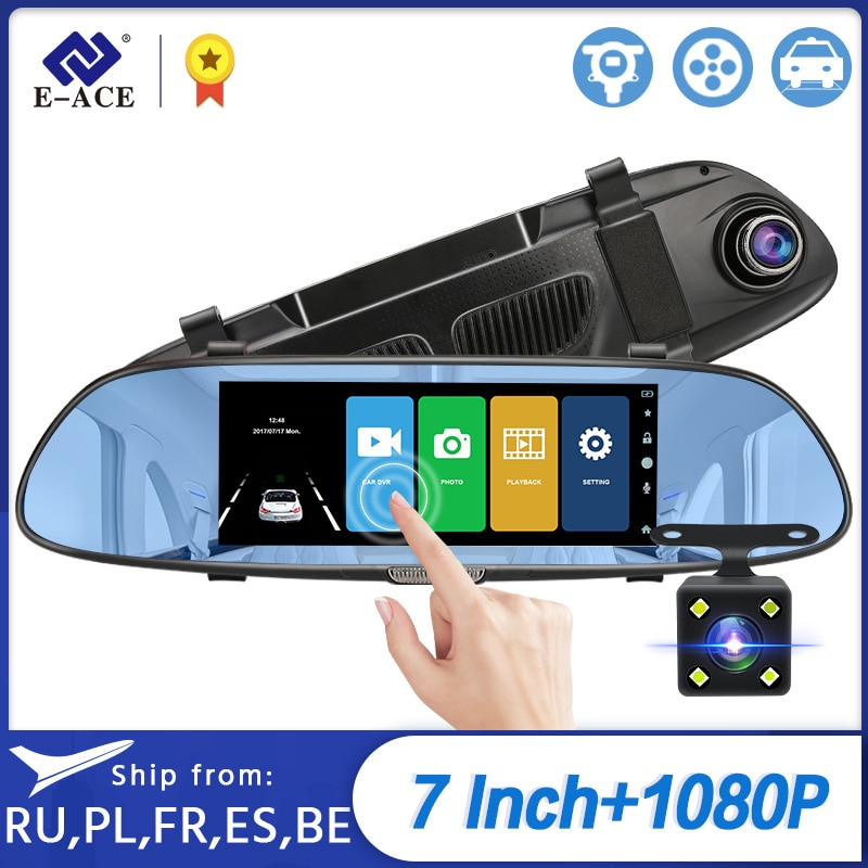 E-ACE DVR para coche FHD 1080P 7,0 pulgadas, cámara de vídeo con espejo, lente Dual con cámara de visión trasera, cámara de salpicadero con registrador automático