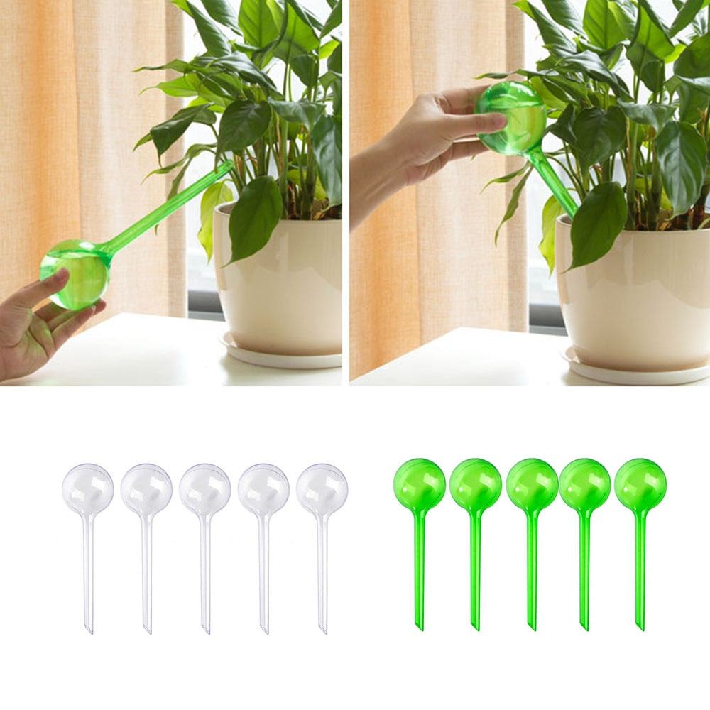 5pcs Automatic Plant Self Watering Water Feeder Indoor Outdoor Plastic PVC Ball Feeder Watering System Garden Supplies