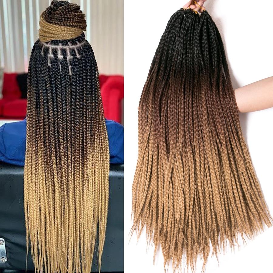 Коса для вязания крючком, 24 дюйма, Коробочная коса, 22 корня/шт., блонд, Омбре, синтетические косички для наращивания волос, нагревательная вол...