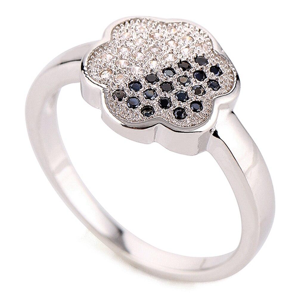 Hermosos anillos chapados en rodio con flores para mujer, joyería de moda