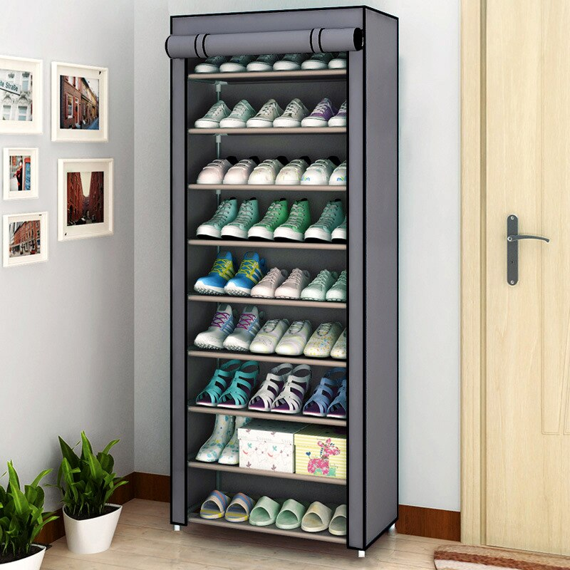 Armario de zapatos multicapa a prueba de polvo armario de almacenamiento de zapatos pasillo ahorrador de espacio Shoerack organizador titular hogar muebles zapatero