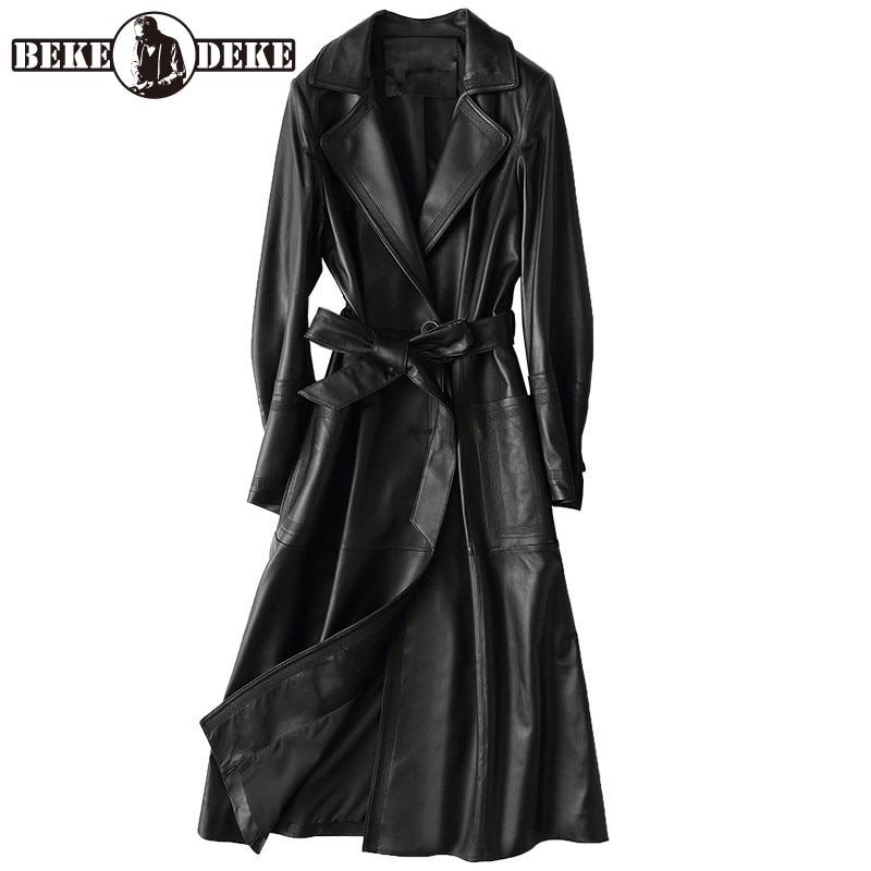 جاكيت نسائي طويل فاخر من الجلد الأصلي ، معطف واق من المطر مع حزام ، معطف واق من المطر من جلد الغنم ، حزام ، سترة واقية