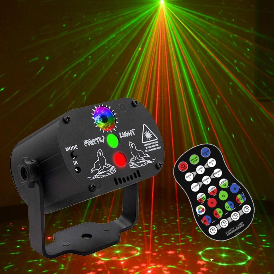 أضواء الليزر ، DJ ديسكو المرحلة حزب الصوت المنشط RGB جهاز عرض (بروجكتور) ليد الوقت وظيفة مع التحكم عن بعد لعيد الميلاد زينة
