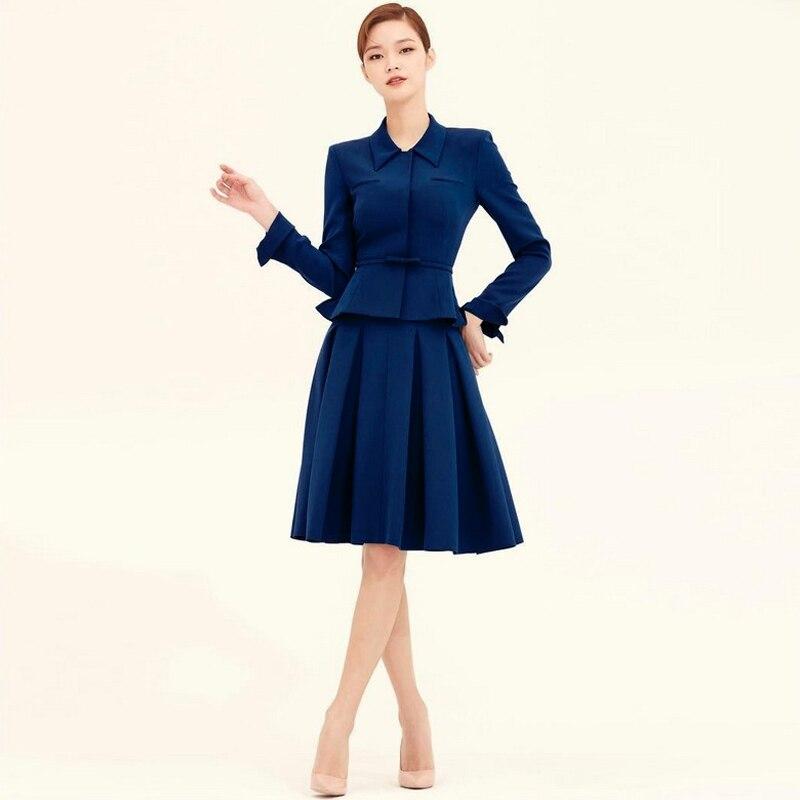 مصمم عالية الجودة موضة جديدة ربيع الخريف النساء مجموعات طويلة الأكمام سترة أعلى مطوي ألف خط تنورة مكتب بدلة حفلة أنيقة