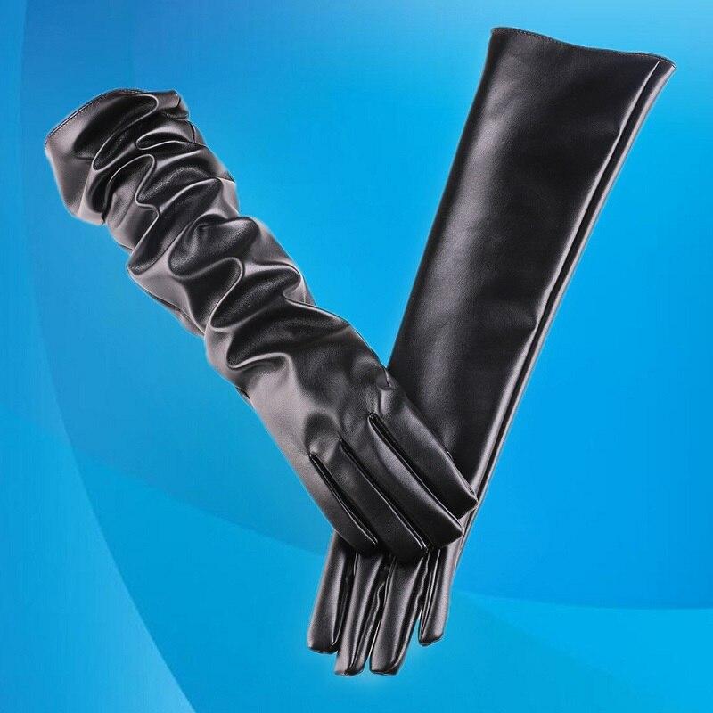 Женские длинные перчатки из искусственной кожи, Вечерние Перчатки Оперы из искусственной кожи, длинные перчатки из искусственной кожи, жен...