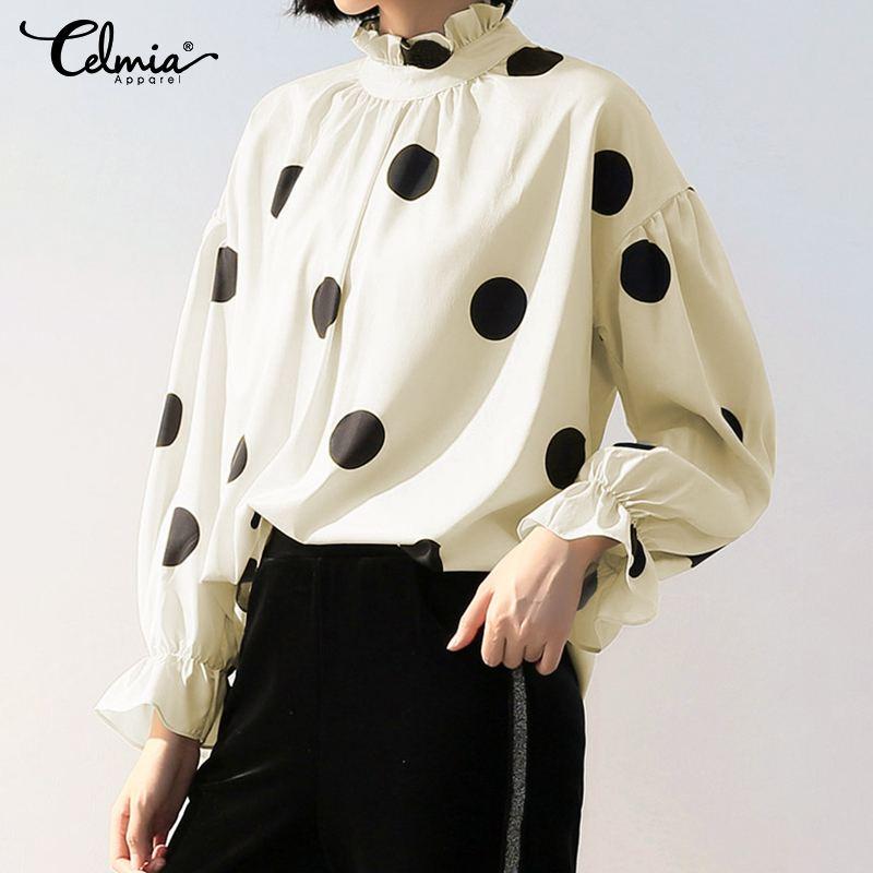 Blusas de mujer de manga larga de linterna de moda camisas de Otoño de Celmia camisetas sueltas informales de cuello alto Polka Dot elegantes Blusas de oficina