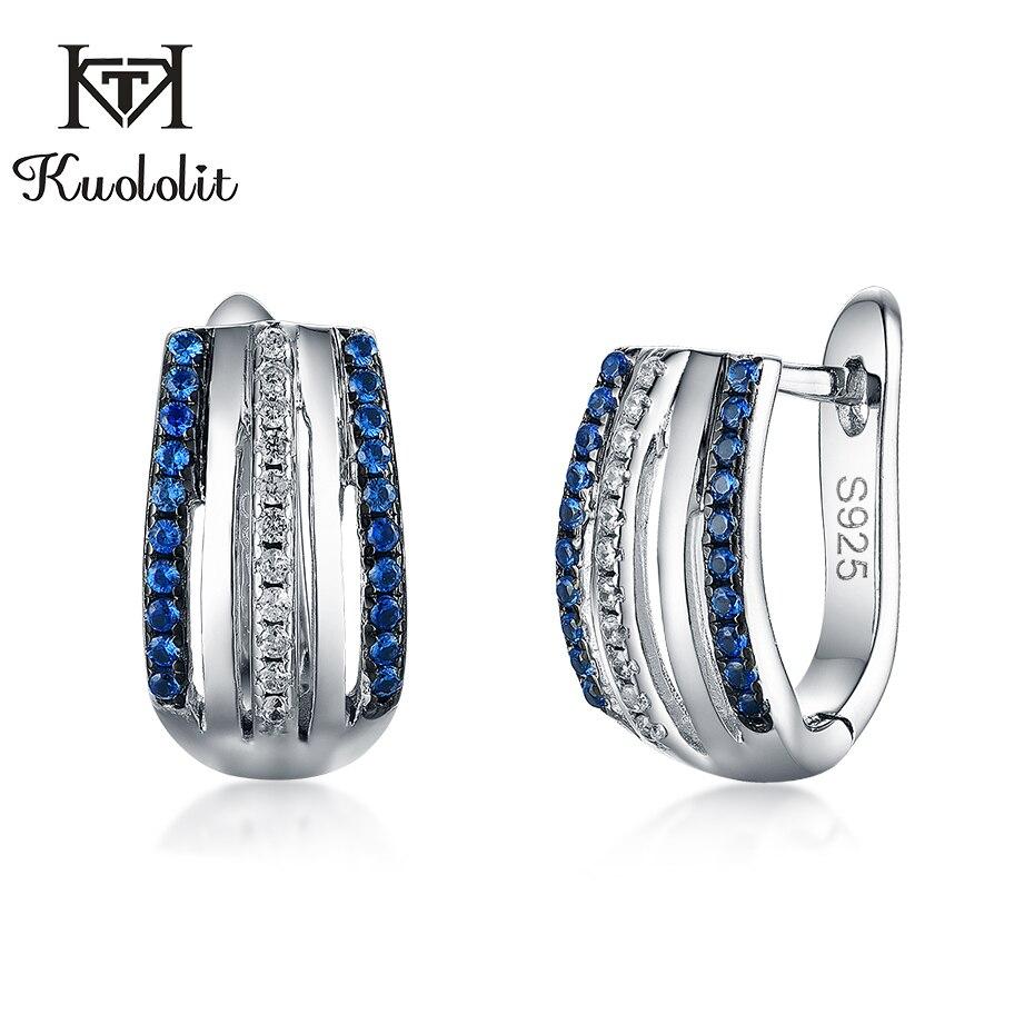 Kuololit Blau sapphire Clip Ohrringe Für Frauen Authentische 925 Sterling Silber серьги für Hochzeit braut Glamorous Edlen schmuck