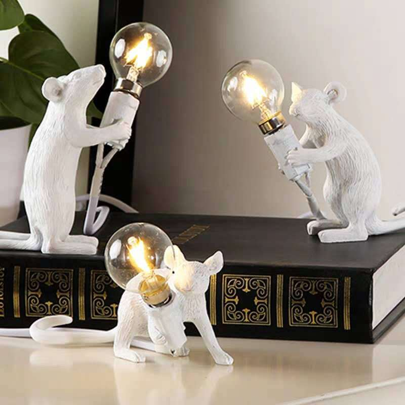cute led resin animal rat mouse desk lights small art mouse children s table lamp lights small mini mouse light night light Cross-Border Mouse Table Lamp Nordic Animal Lamps Living Room Dining Room Bedroom Clothing Store Cartoon Mouse Resin Desk Lamp