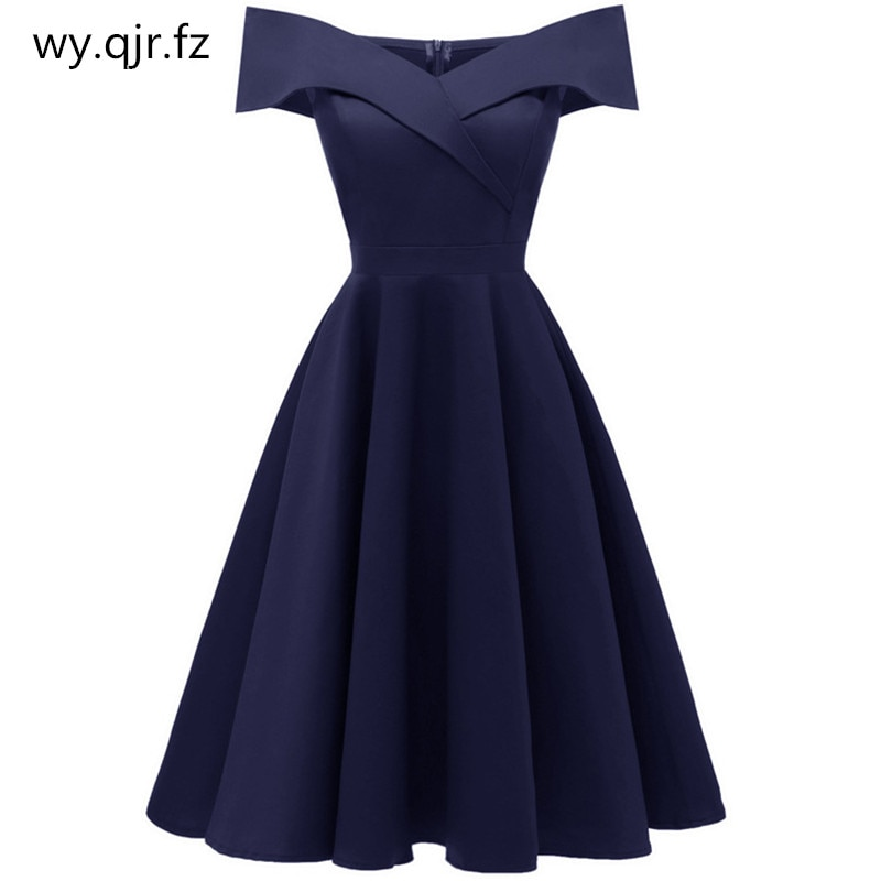 CD1635#Satin wine red Navy blue black short Boat Neck Evening dresses wessing party dress girl gown prom wholesale women Girls