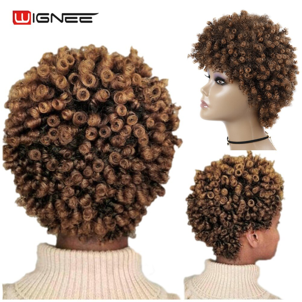 Wignee Short Hair Synthetic Wigs Afro Kinky Curly Heat Resistant for Women Mixed Brown Cosplay African Hairstyles Daily Hair Wig